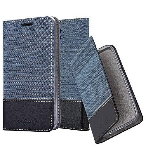 Cadorabo Hülle für Alcatel 3L 2019 in DUNKEL BLAU SCHWARZ - Handyhülle mit Magnetverschluss, Standfunktion und Kartenfach - Case Cover Schutzhülle Etui Tasche Book Klapp Style