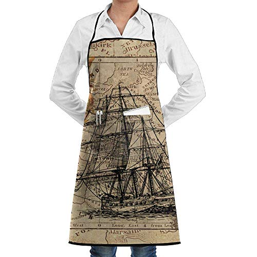 Hipiyoled Grill Aprons Kitchen Chef Bib Nautical Chart Extra Long Adjustable Ties for Cooking,BBQ,Baking (Bbq-chart)