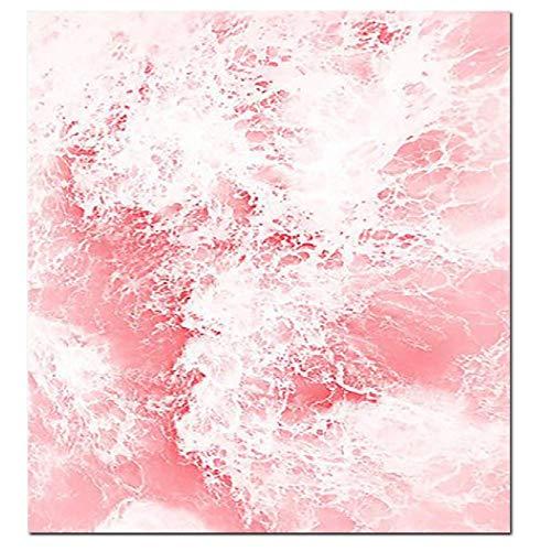 Pink Ocean Nordic Poster Pflanze Blatt Wand Kunst Pink Print Wandbilder für Wohnzimmer Home Decor, A ()