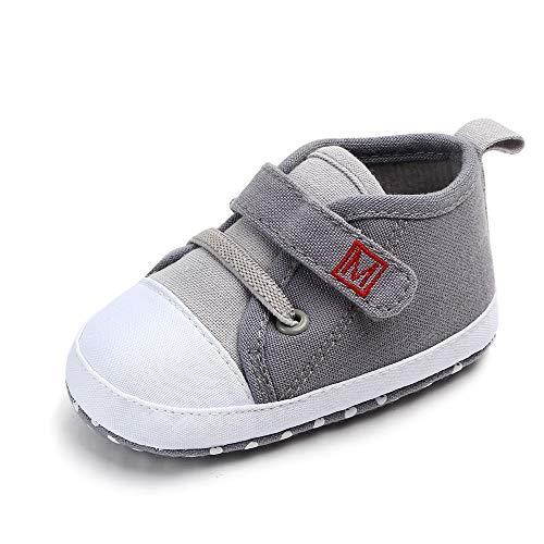 Dorical Unisex Babyschuhe Neugeborene Schuhe, Baby Junge Canvas Krabbelschuhe Sneaker Rutschfeste Lauflernschuhe Hausschuhe Weiche Sohle Freizeitschuhe Größe 3-12 Monate(Grau,11 EU)