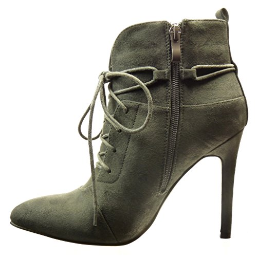 Boucle Haut Aiguille Talon 11 Sexy Femme Cm Boots Low Chaussure Gris gqZw6