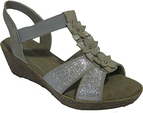 Sandales compensées pour femmes Gris