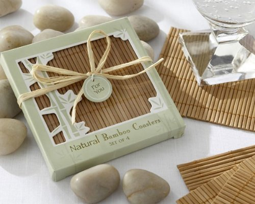 Eco-Friendly Natural Bamboo Coaster Favors - 24 Sets of 4 Coasters by Bgehr