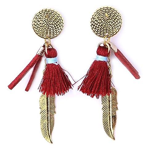 Ohrring,Dairyshop Art und Weisefrauen Mädchen Troddel Ohrring Blatt Tropfen Legierungs Charme Handarbeit Zusatz