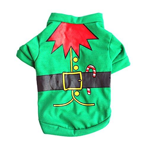 hten Elf-Stil Pet Hunde Welpe Baumwolle T-Shirt Jumpsuit Outfit (Cute Christmas Elf Kostüme)