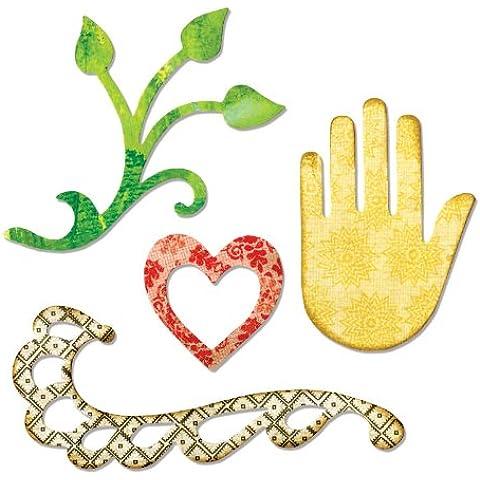 Sizzix - Fustelle Sizzlits a forma di cuore, mano, pianta e vite - Singles Sizzix Sizzlits