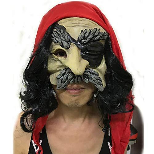 Halloween Entertaining Maske Horror Grimasse Karibik Piraten Maske Teufel Kopfschmuck Unisex 1 Stücke Stücke Erwachsene Geschenk,Red,Onesize