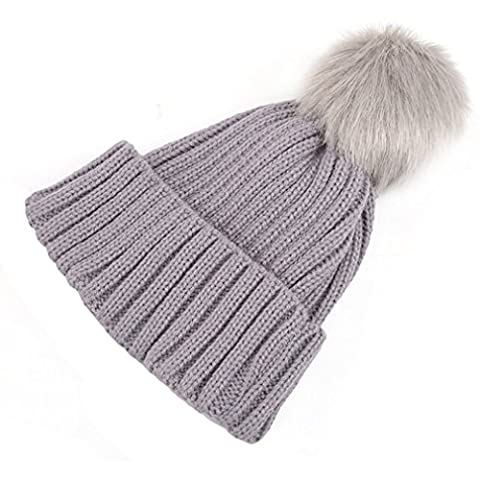 Lalang Baby Winter Warm Knit Hat Infant Toddler Kid Crochet Hat Beanie Cap (grey)