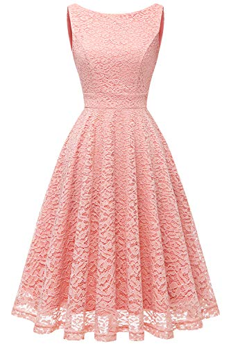 bbonlinedress Damen Charmant Spitzenkleid Ärmellos Cocktail Party Floral Abendkleid Blush S