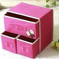 Saiyam 2 Layers 3 Drawers Foldable Storage Box Bra Underwear Socks Cosmetics Closet (Sm-675-2-Layer-3-Drawer-Storage-Box)