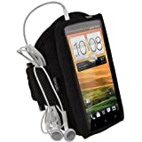 igadgitz Schwarz Wasserabweisendes Neopren Sport Jogging Fitness Armband Tasche Oberarmtasche Etui Case Hülle Schutzhülle für HTC One X S720e & HTC One X+ Plus Android Smartphone Handy