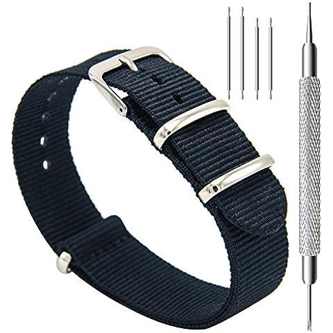 CIVO Reloj Bandas OTAN Premium Ballistic Nylon hebilla de correa de reloj de acero inoxidable de 18 mm 20 mm 22 mm con barra de herramientas de Primavera y superior 4 barras de resorte de bonificación (Black,