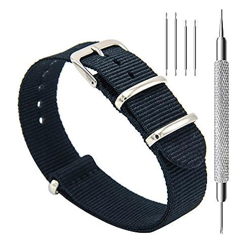 CIVO Bracelet de montre Bande Watch Bande de montre prime NATO Ballistic Nylon Bracelet en acier inoxydable Boucle 18mm 20mm 22mm avec la barre d'outils Top Spring et 4 Bars Spring Bonus (Black, 20mm)