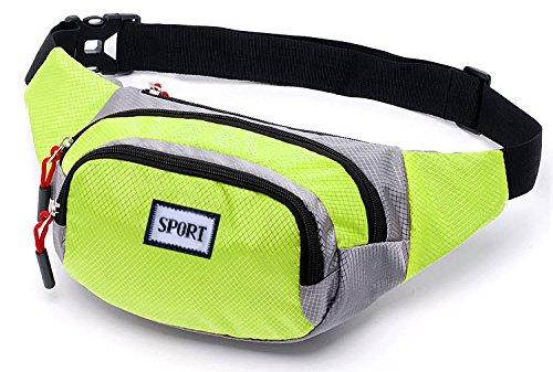 Hivel all'aperto Marsupio Sportivo Borsa da Cintura Cerniera Tasche per Viaggio, Ciclismo ,Jogging, Salita 10 Inch - Verde Verde
