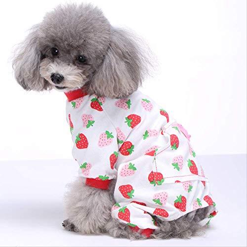 Cotton Knit Pyjama (AHJSN Kleidung für Haustiere Teddy Cat Bomei Cotton Vierbein-Pyjamas Knit Pet Kleidung Home Kleidung Pyjamas L Sy27 Strawberry)