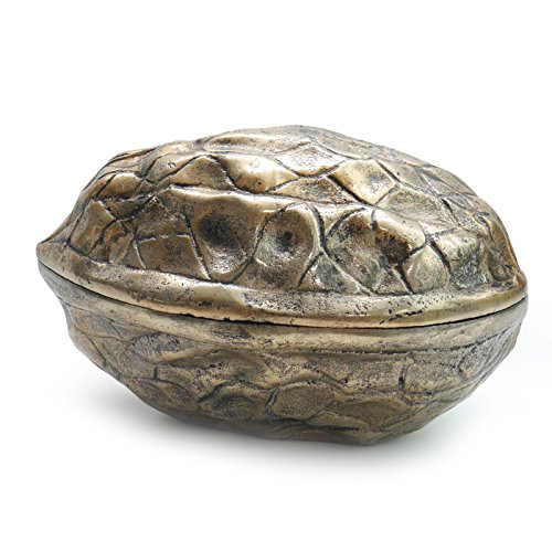 Dose WALNUSS Schale mit Deckel | Bonboniere | Metall gold antik |Bell Arte
