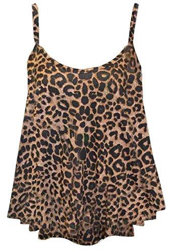 Janisramone Nuovo Donne Signore Senza maniche camiciola stampato strappy pattinatore svasata Swing Cami cima Marrone Leopardo