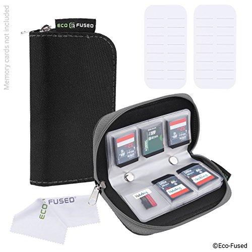 Speicherkarten-Tasche - 2 Stück - Passend für bis zu 22x SD, SDHC, Micro SD, Mini SD und 4X CF - Halterung mit 22 Schlitzen (8 Seiten) - Zur Aufbewahrung und für unterwegs - Mikrofaser
