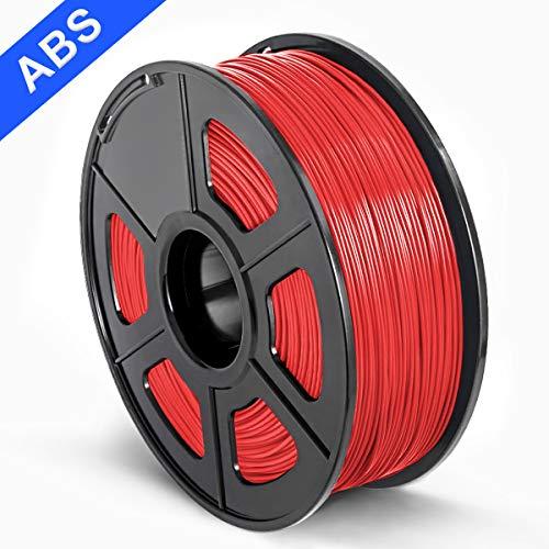 SUNLU 3D Printer Filament ABS, 1.75mm ABS 3D Printer Filament, 3D Printing Filament ABS for 3D Printer, 1kg, Red