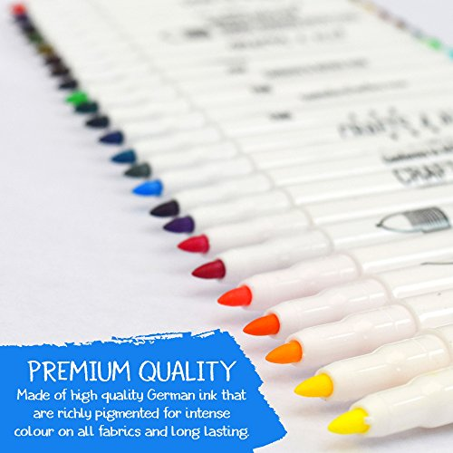 Fabric Markers Permanent Art Markers 24 SET Premium Quality Fine Tip MINIMAL BLEED fabric pens By Crafts 4 ALL .Child safe & non-toxic.