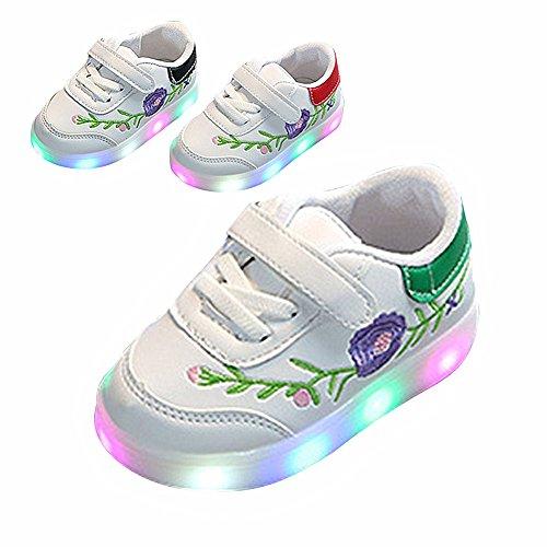 Kinderschuhe, Chickwin Baby LED Kinderschuhe Unisex Weich Und Bequem Rutschfest Bunte LED-Leuchten Schuhe SportSchuhe Flashing Schuhe (22 / Maß Innen (cm) 14, Grün) (Air Jordans Schuhe Für Jungen-größe 9)