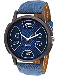 Iconic Blue Jeans Dial Blue Leather Strap Analogue Watch - For Men