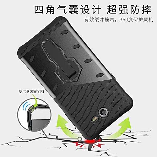 YHUISEN Hybrid Tough Rugged Dual Layer Rüstung Schild Schützende Shockproof mit 360 Grad Einstellung Kickstand Case Cover für Samsung Galaxy J7 2017 J720 ( Color : Blue ) Black
