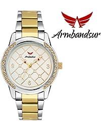 Armbandsur silver & golden strap white dial watch- ABS0040GGG