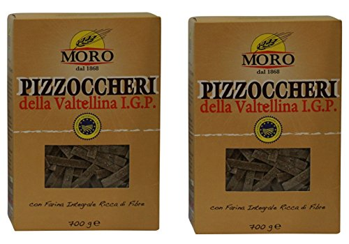 Moro Pizzoccheri Pasta Made with Durum Whole Wheat Buckwheat - Stone Ground 24.69 Ounce (700gr) , Pack of 2