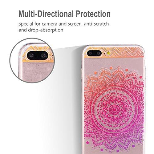 iphone 7 Plus Hülle, E-Lush TPU Soft Silikon Tasche Transparent Schale Clear Klar Hanytasche für iphone 7 Plus (5.5 Zoll) Durchsichtig Rückschale Ultra Slim Thin Dünne Schutzhülle Weiche Flexibel Hand Lila rote Mandala