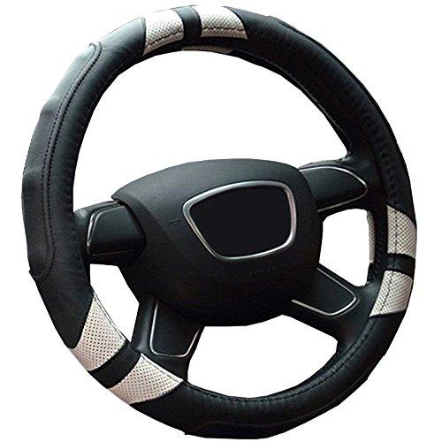 Semoss Gute Qualität Komfortabel Echt Leder Sports Lenkradbezug Lenkradhülle Lenkradabdeckung Lenkradschoner Auto Universal Atmungsaktiv Steering Wheel Cover,Dimension:37-38cm,Farbe:Schwarz / Weiß