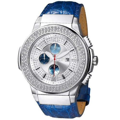 JBW MEN'S SAXON DIAMOND 46MM BLUE LEATHER BAND SWISS QUARTZ WATCH JB-6101L-G