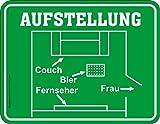 Original RAHMENLOS Magnet: Aufstellung - Couch, Bier, Fernseher, Frau: Blech 9x7cm