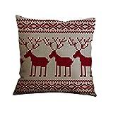 Nunubee Frohe Weihnachten Kissenhülle Elch Kissenbezüge Baumwolle Leinen Dekor Kissenbezug, Muster 18