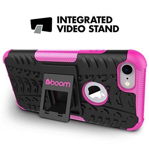 #boom Shock 2 iPhone 7 Case. Handyhüllen Mit Ständer. Schlanker, Sicherer Schutz. Maximaler Grip. Handytasche Aus Weichem Und Hartem Material. Hülle Mit Ständer. Schützt Bei Stößen Und Stürzen. Kein R Rosa