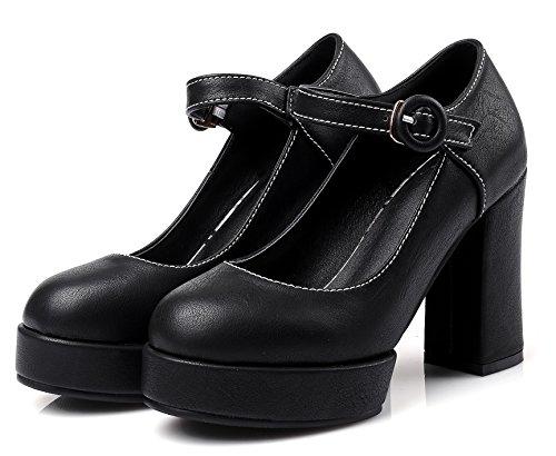 YE Damen Blockabsatz Ankle Strap High Heels Mary Jane Pumps mit Plateau und Schnalle Schwarz