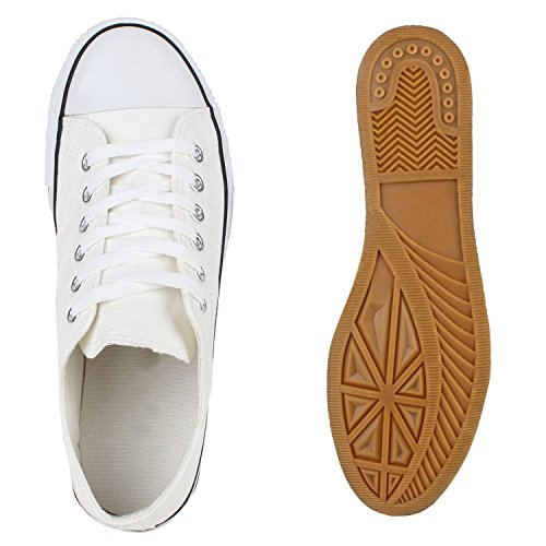 Japado Comode Sneakers Unisex Low-cut Modello Basic Per Il Tempo Libero Scarpe Di Vari Colori 36-45 Bianco