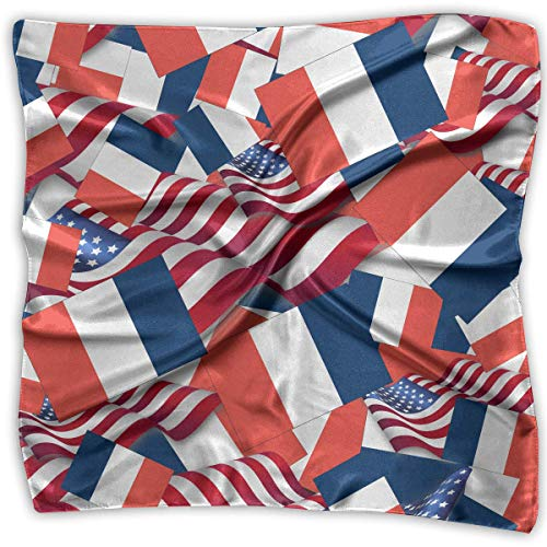 Women's Square Scarf France Flag with America Flag Satin Polyester Silk Feeling Square Headscarf Headdress