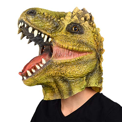 Finalshow Dinosaurier Maske Latex T-Rex Tiermaske Kopf Drachen Kostüm für Halloween Weihnachten Party Dekoration Dino Masken (Feuer Drachen Kostüm)