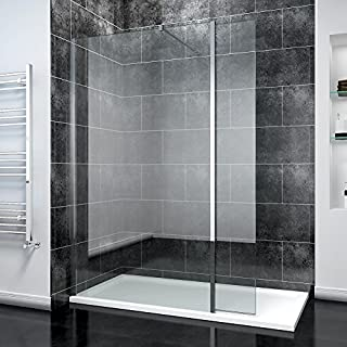ELEGANT 1000mm Frameless Wet Room Shower Screen Panel 8mm Easy Clean Glass Walk in Shower Enclosure with 300mm Return Panel and Support Bar