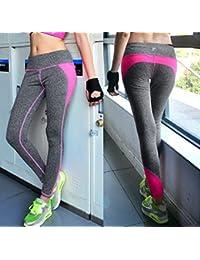 Tongshi Las mujeres de cintura alta deportes pantalones Legging entrenamiento deporte Fitness correr Legging (Rosa caliente, S)