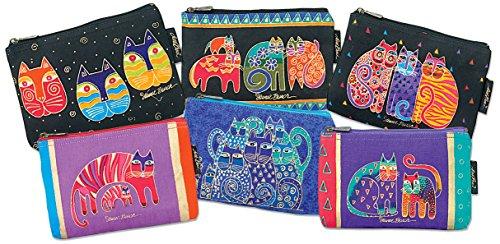 laurel-burch-9-x-1-x-6-inch-feline-prints-cosmetic-bag-zipper-top-assortment