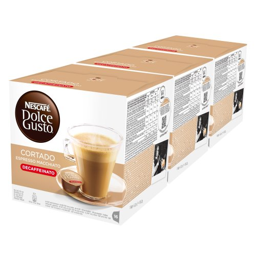 Nescafé Dolce Gusto Espresso Cortado Descafeinado, Paquete de 3, 3 x 16 Cápsulas