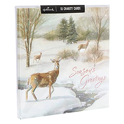 Hallmark Traditional Iridescent Glitter Design Boxed Christmas Card (Pack of 10)