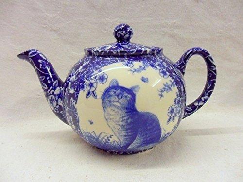 2Tasse Teekanne in blau Katze Design von Heron Cross Pottery.