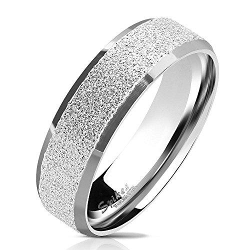 Bungsa 52 (16.6) Silberner Ring für Damen & Herren - sandgestrahlter, Silberner Damen-Ring aus Edelstahl mit abgerundeten Kanten - Edelstahlring Geeignet als Verlobungs-Ringe & Freundschafts-Ringe