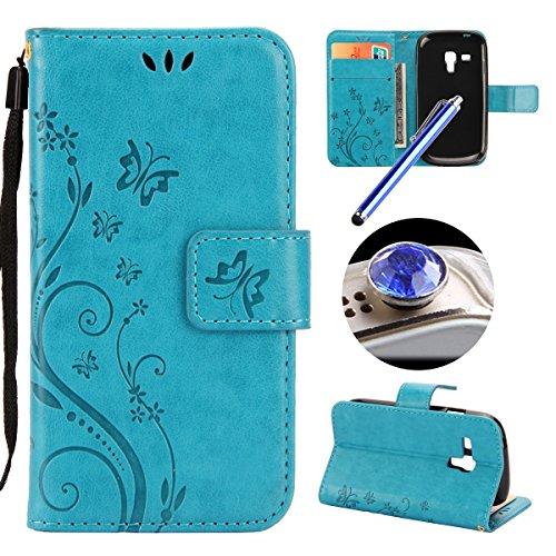 Etsue Kompatibel mit Samsung Galaxy S3 Mini i8190 Handyhülle Flip Cover Schutzhülle Schmetterling Blumen Handytasche Ledertasche Brieftasche Leder Hülle Wallet Tasche Case Kartenfächer Ständer,Blau