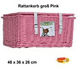 Zemto Fahrradkorb, Rattan rosa groß mit Deckel