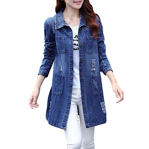 Damen Jacke Lange Jeansjacke Damen Oversize Löcher Dunkelblau Lang Übergangsjacke Leichte Jacke Mantel (44, Dunkelblau)