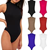 Re Tech UK Womens Ladies Sleeveless Polo Turtle High Neck Bodysuit Leotard Plain Stretch Roll